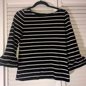 Kate Spade Striped Trumpet Sleeve Top